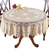 Collections Etc Crochet Lace Floral Tablecloth for Dining Room Accent or Layering Linens, Cream, 70' Round