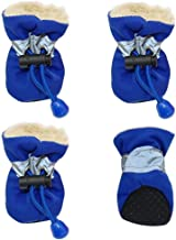Redland Art 4pcs Waterproof Winter Pet Dog Shoes Anti-Slip Rain Snow Boots Footwear Thick Warm for Small Cats Dogs Puppy Dog Socks Booties (Color : Blue, Size : M)