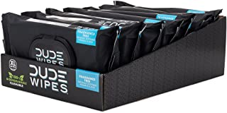 DUDE Wipes Flushable Wipes Dispenser (6 Packs, 48 Wipes Each), Unscented Wet Wipes with Vitamin-E & Aloe for at-Home Use, Septic and Sewer Safe