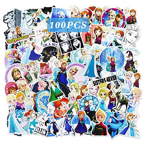 Ting Art 100 Stück Frozen Aufkleber Wasserflasche Gepäck Fahrrad Auto Aufkleber Anna und Elsa Aufkleber für Kinder Filmthemen Geschenke
