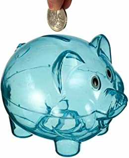 TRENTON Clear Plastic Lovely Piggy Coin Money Saving Bank Openable Kids Gift (Blue)
