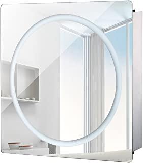 "HomCom LED Ring Sliding Bathroom Mirror/Medicine Wall Cabinet (28"" x 24"")"