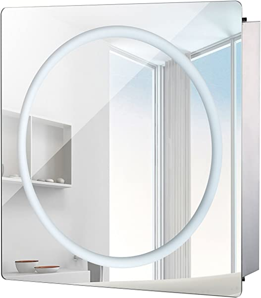 HomCom LED Ring Sliding Bathroom Mirror Medicine Wall Cabinet 28 X 24