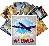Carte Postale 24pcs Vintage Travel Posters Aviation Planes European