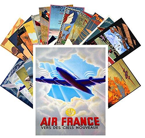 Postcard Set 24 cards Vintage Travel Posters Aviation Planes European