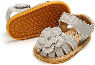 Meckior Baby Girls Premium Soft Rubber Sole Anti-Slip Summer Shoes Infant Baby Prewalker Toddler Sandals. (11cm(0-6months)...