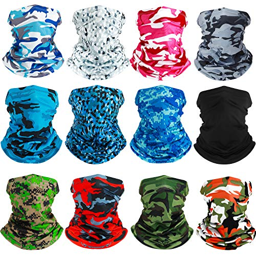 SATINIOR Summer Neck Gaiter Sun Protection Neck Gaiter Scarf UV Protection Balaclava Face Clothing for Outdoor Cycling Running Hiking Fishing Motorcycling (Black and Camouflage Color, 12)