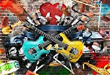 AOFOTO 7x5ft Rock Music Photography Background Grunge Graffiti Brick Wall Backdrop Punk Fashion Vocal Concert Scene Stylish Trendy Boy Girl Artistic Portrait Party Decor Photo Studio Props Wallpaper