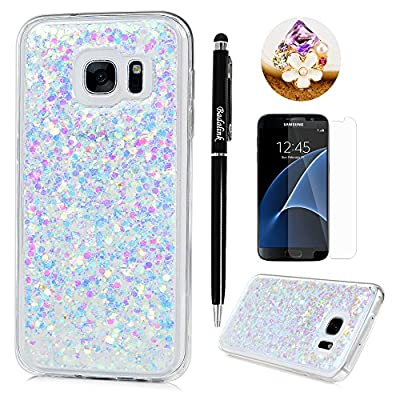 Badalink Galaxy S7 Case Shiny Glitter Sparkle Powder Series Shockproof Drop Protection Soft TPU Rubber Protective Bumper Sratchproof Slim-Fit Colorful Cover for Samsung Galaxy S7