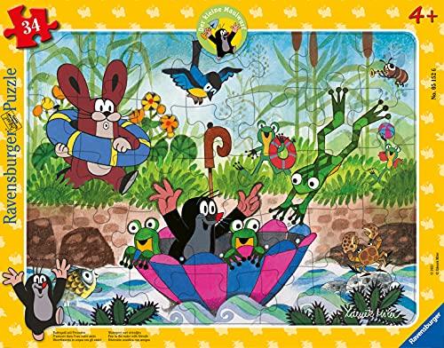 Ravensburger Kinderpuzzle - 05152 Badespaß mit Freunden - Rahmenpuzzle für Kinder ab 4 Jahren, Der kleine Maulwurf Puzzle mit 34 Teilen