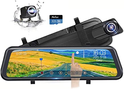 """$119 Get Backup Camera 10"""" Full Touch Screen Mirror Dash Cam, Poaeaon 170° 1296P Front and 150° 1080P Rear View Camera Dual Lens with Night Vision & Parking Monitor (Free 32GB SD Card)"""