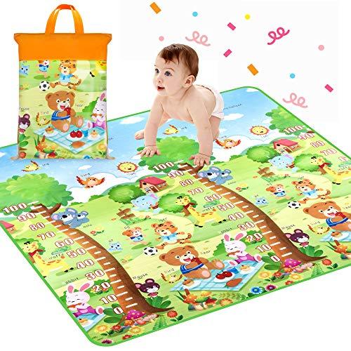 "Crawling Mat, Waterproof Non-Toxic Non-Slip Baby Floor Mat Educational Learning Area Rug for Kids Activity Mat Reversible 78.7"" x 71"" Playmat (Carton Height Ruler/Amusement Park)"