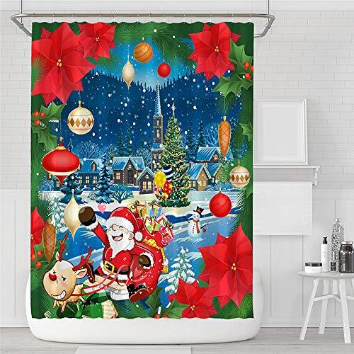 Cortina de ducha de impresión digital cortina de ducha de tela de poliéster impermeable serie de dibujos animados cortina de ducha de tela para el hogar juego de tres piezas de cuatro piezas