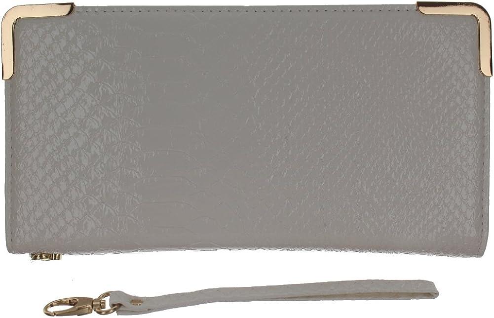 Faux Snake Skin White Wallet Evening Clutch Bag Purse Handbag