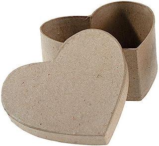 Darice Paper Mache Box Heart 4-1/2 x 4-1/2 x 2 inch (6-Pack) 2833-32
