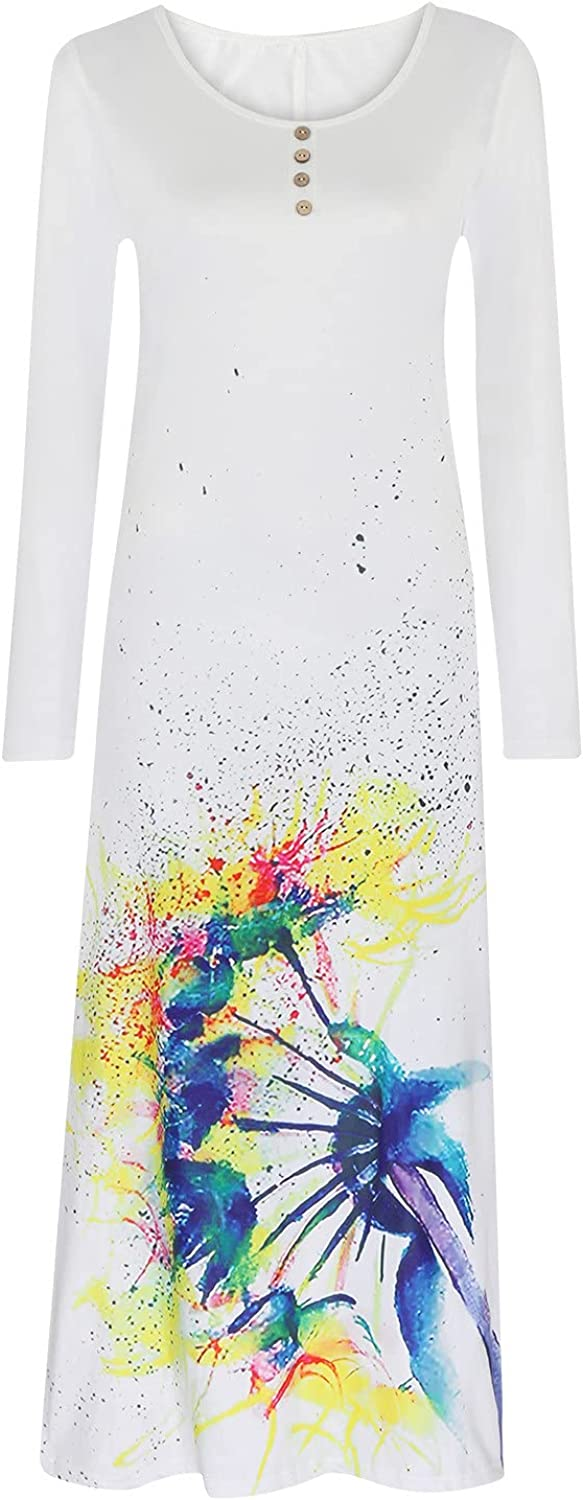 Vintage Long Dress for Womens Casual Floral Printed Long Sleeve Maxi Dress Loose Round Neck Dresses