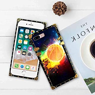 SOKAD Painted Basketball Wallpapers Square Case Cover Fit iPhone 7 Plus (2016) and iPhone 8 Plus (2017) [5.5 Inch]