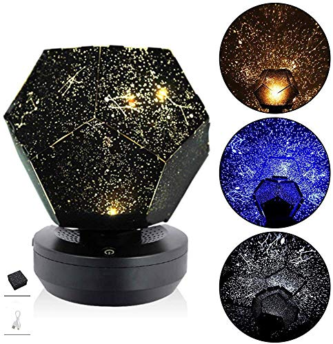 YingD Three-Color Starlight Projector, DIY Original Home Planetarium Starry Sky Light, Romantic Outdoor Bedroom Decorative Lighting Best Gift for Children