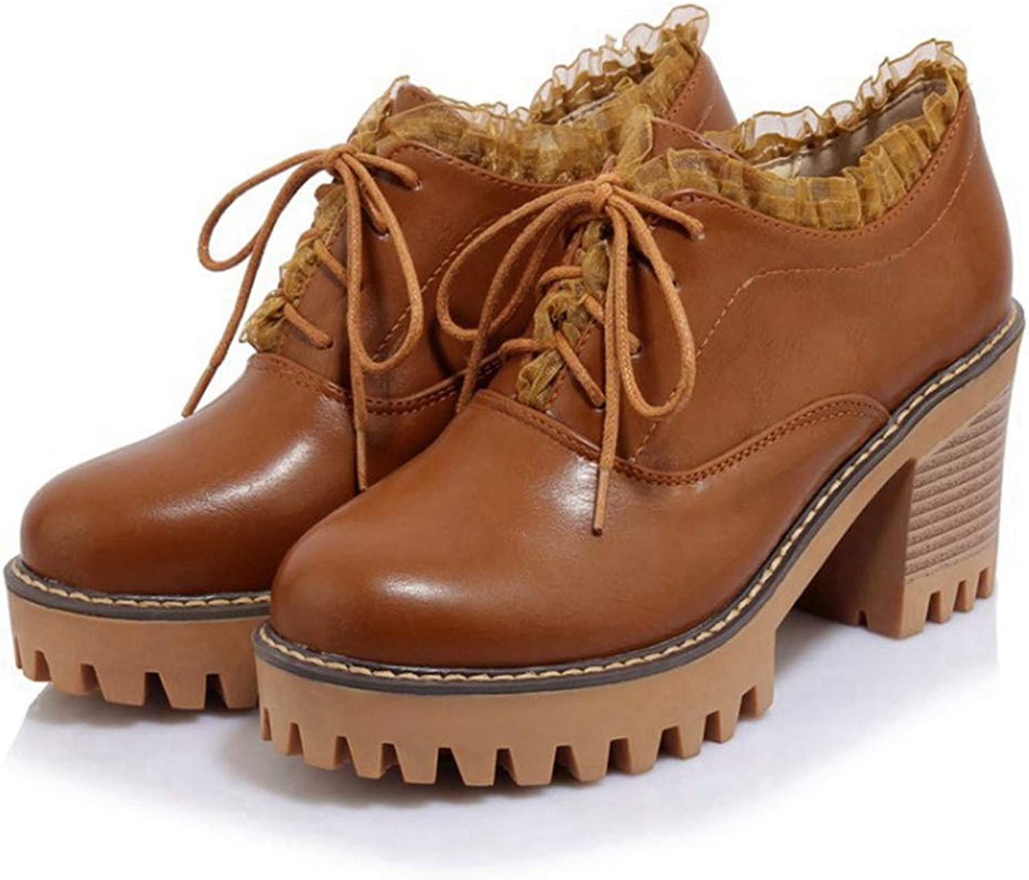 CYBLING Womens Lace-up Wingtip Oxfords Pumps Vintage Plaform Chunky Mid Heel Brogues shoes