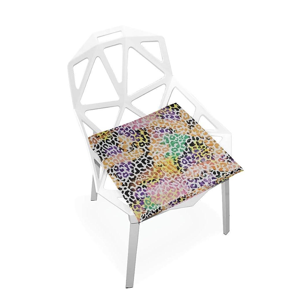 証書特殊代理人XHQZJ 座布団 チェアクッション 魅力的なヒョウ柄 椅子用マット カバー 低反発 座り心地抜群 自宅 オフィス 車用 腰楽 滑り止め 柔らかい 通気性 おしゃれ 洗える 真四角 40*40cm