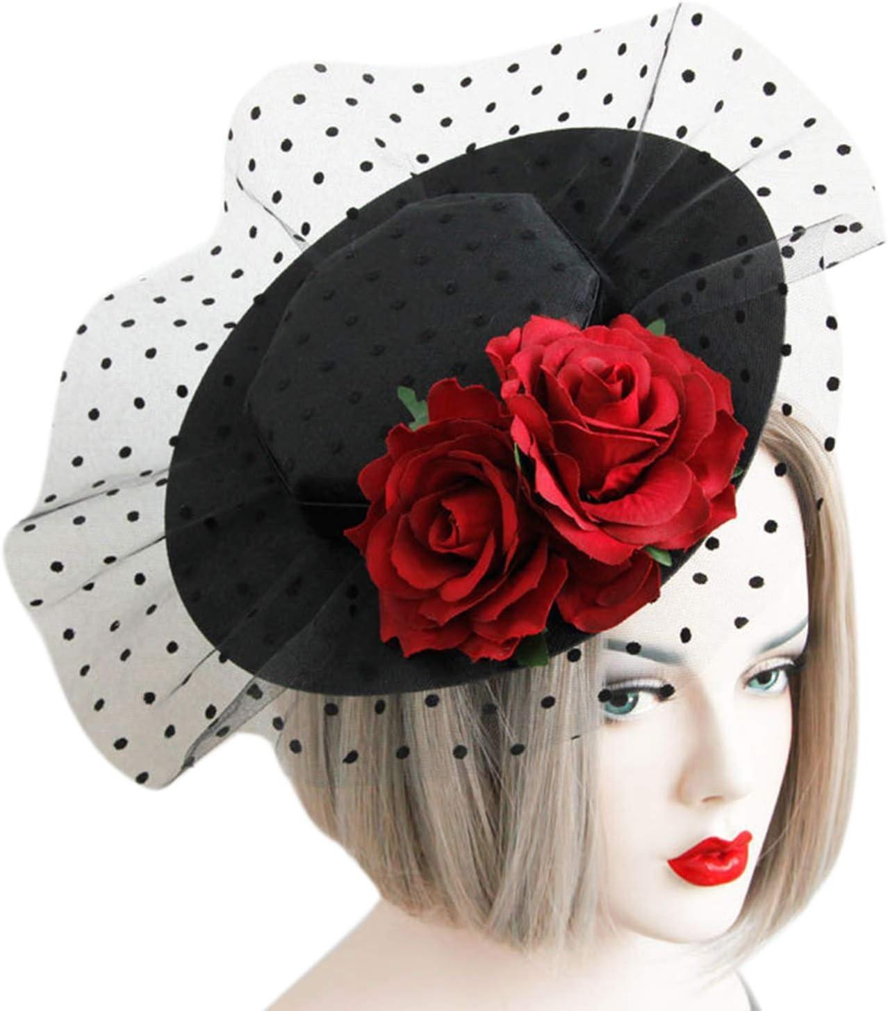 Fascinator Hair Clip Kentucky Derby Hat Veil Pillbox Hat Mesh Flower Headpiece