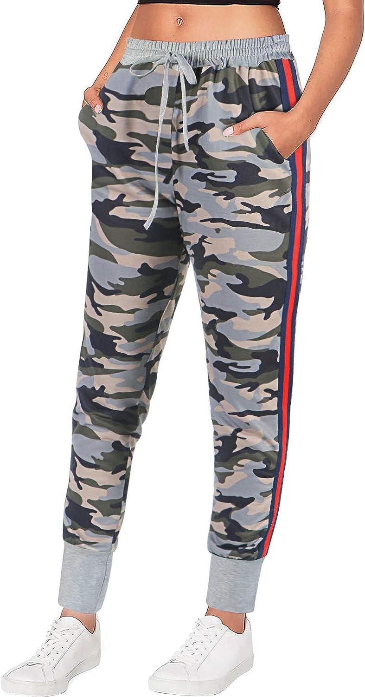 LASLULU Womens Drawstring Jogger Sweatpants Camouflage Stretchy Workout Yoga Pants Leopard Printed Pants