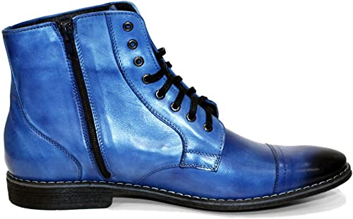 Peppeschuhe Modello Blabla - - - Handgemachtes Italienisch Bunte Herrenschuhe Lederschuhe Herren Blau Stiefel Stiefeletten - Rindsleder Handgemalte Leder - Schnüren  Fabrikverkauf