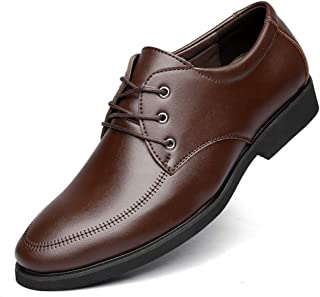 PengCheng Pang Business Oxford for Men Formal Dress Shoes Lace Up Microfiber Leather Pointed Toe PU Lined Solid Color Intimate Foot Anti Slip (Color : Brown-2, Size : 6.5 UK)