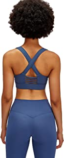Back Cross Sports Bra, Hollow Out Breathable Comfy Yoga Gym Bras with Padded,Blue,4