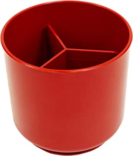 Red Extra Large and Sturdy Rotating Utensil Holder with No-Tip Weighted Base, Removable Divider, And Gripped Insert   Rust Proof and Dishwasher Safe by Cooler Kitchen