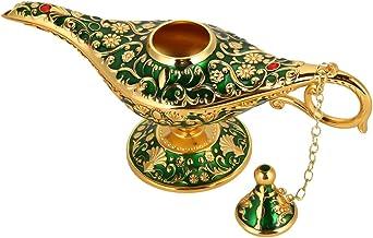 Lâmpada de óleo, lâmpada de óleo retrô de conto de fadas de metal Aladdin Magic Genie para decoração de casa (verde)