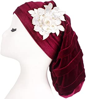 QingFan Women's Muslim Floral Scarf Hat Stretch Turban Headwear for Cancer Chemo