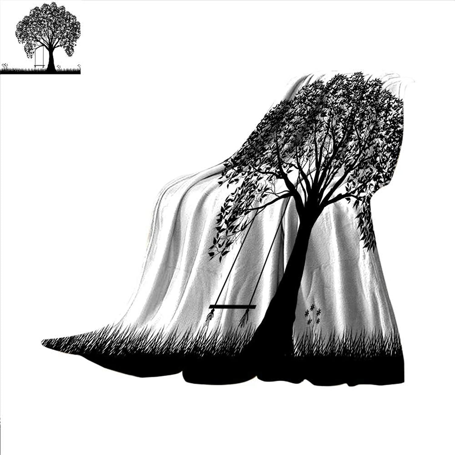 Tree Digital Printing Blanket A Tree Silhouette with a Swing Illustration Flowers and Grass Monochrome Pattern Summer Quilt Comforter 60 x50  Black and White