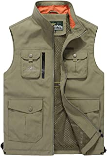 XXT Pocket Vest Polyester Men's Autumn and Winter Sports and Leisure Multi-Pocket Vest Practicality (Color : Khaki, Size : XL)