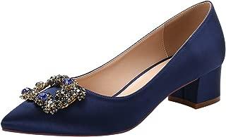 Women Comfort Low Heel Closed Toe Rhinestone Wedding Evening Satin Shoes