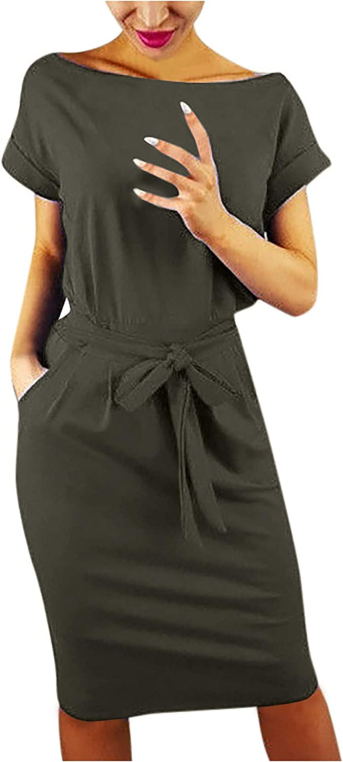 Womens Basic Crew Neck Belted Office Dress with Pockets Solid Color Sexy Short Sleeve Party Slim Dress