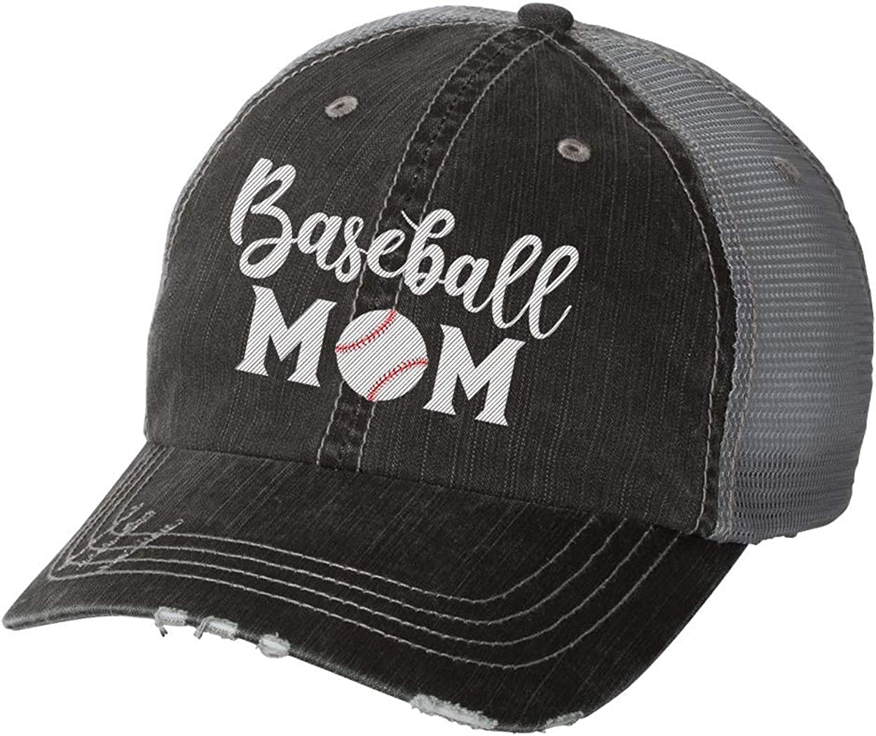 Women's Sports Mom Embroidered Ladies Fit Distressed Trucker Hat