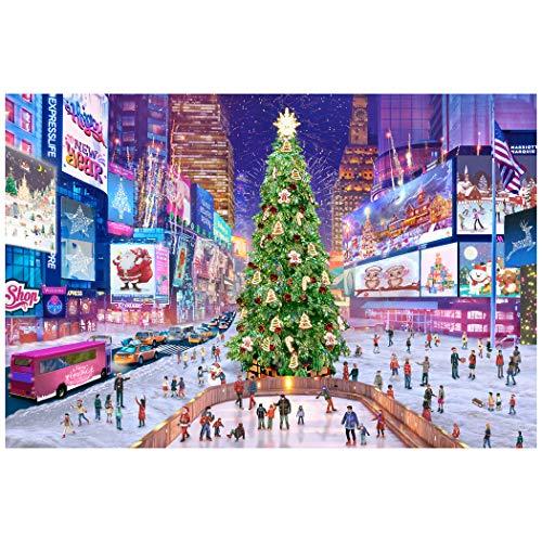 Tektalk 1000-teiliges Holzpuzzle-Puzzle für Jugendliche und Erwachsene - Times Square zu Weihnachten