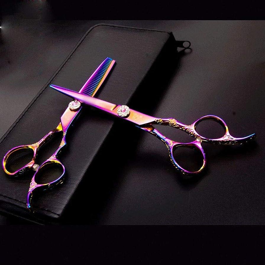 Jiabei 6インチ美容院プロのヘアカットフラット+歯はさみセット、カラフルな彫刻が施された散髪ツールはさみパック (色 : Colors)