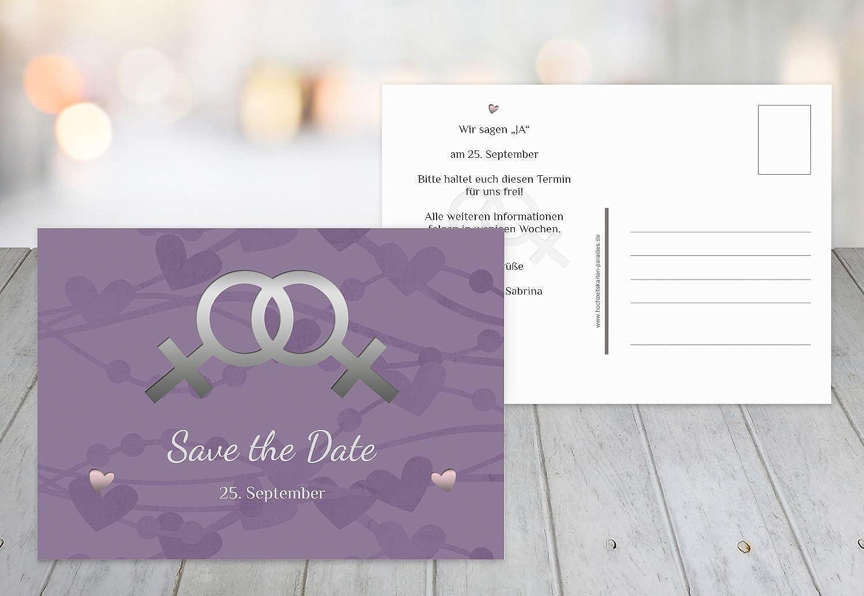 Kartenparadies Hochzeitskarte Im Zeichen der Liebe Liebe Liebe - Frauen, hochwertige Save the Date Karte zur Hochzeit   50 Karten - (Format  148x105 mm) Farbe  LilaFlieder B01NBWXJ2Q | Ausgewählte Materialien  ab0037