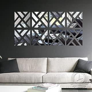 Wall Murals,Woaill 3D Mirror Acrylic Sticker Removable Wallpaper DIY Art Vinyl Decal Home Decor 32Pcs (Silver)