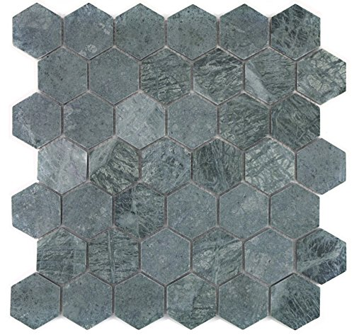Mozaïektegel marmer natuursteen hexagon marmer groen voor muur badkamer douche keuken tegelspiegel tegelverkleeding badkuip verkleeding mozaïekmat mozaïekplaat | 10 mozaïekmatten