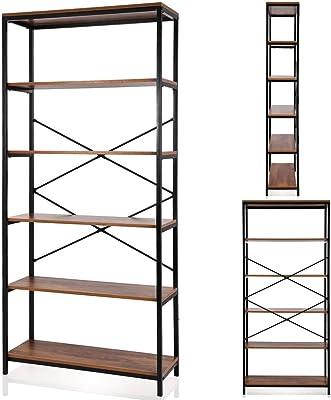 Papafix Tall Bookshelf Mordern Wood Metal Open Industrial Book Shelves Bookcase Shelving Unit Storage System 5 Tier