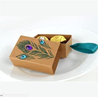 100 Pcs Peacock Feather Candy Boxes 7.5 * 5cm Drawer Design Wedding Favors Faux Rhinestone Kraft Paper Gift Boxes Xiaolanwelc