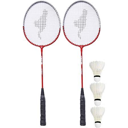 GRS® GRQ16 Aluminium Badminton-Racket, Set of 2 & 3 Pcs of Shuttle Cock