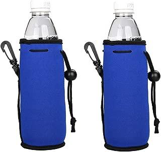 E - Living 500ML (16.9 OZ) Collapsible Neoprene Water Bottle Drawstring Cooler / Coolie / Cover / Insulator / Holder / Huggie / Sleeve - 2 Pack (13 Colors) (Royal Blue)