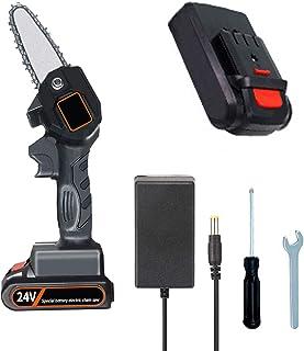 Motosierra eléctrica con batería de 4 pulgadas, mini motosierra eléctrica, cola de zorro, ion de litio, 24 V, protección antirretorno, perno de cadena