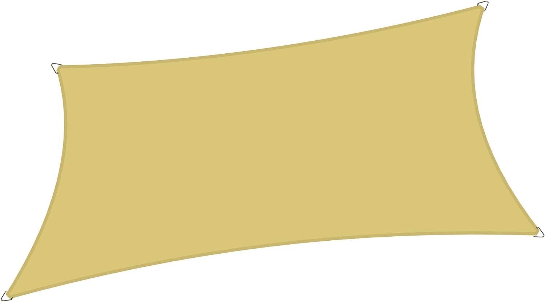 Alion Home 6' x 10' Rectangle Waterproof Polyester Woven Sun Shade Sail (1, Desert Sand)