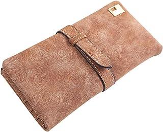 Luxurious Women's Long Faux Leather Purse Wallet Money Bag,Colour:Rose-red (Color : Coffee)
