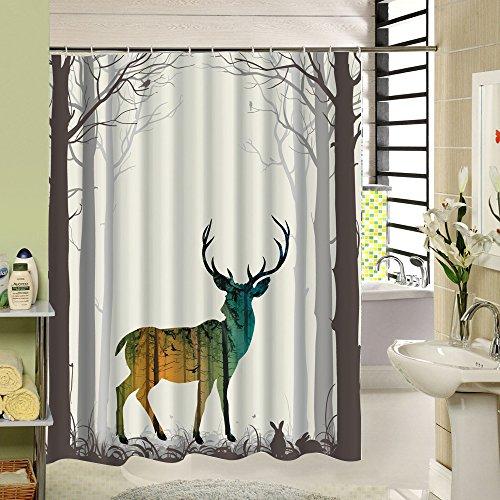 Duschvorhang, Polyester, Reh-Motiv, wasserfest, maschinenwaschbar, 180x 200cm